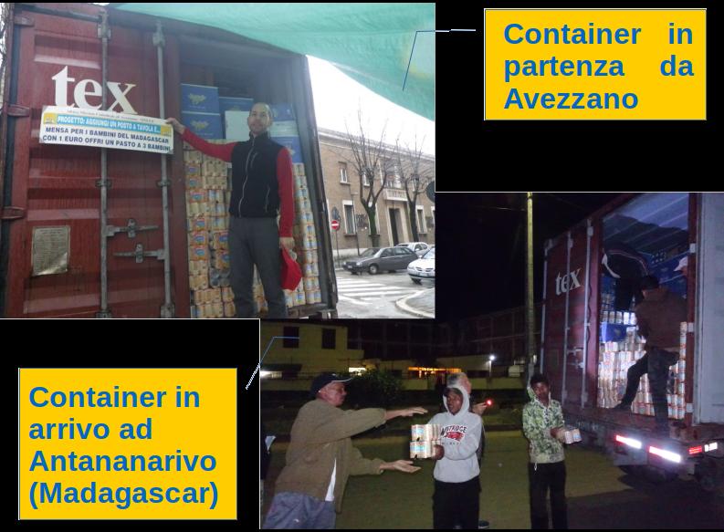 Container caricato ad Avezzano e scaricato ad Antananarivo